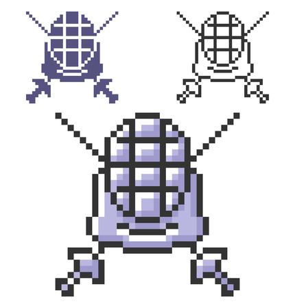 Pixel icon of swordplay in three variants. Fully editable