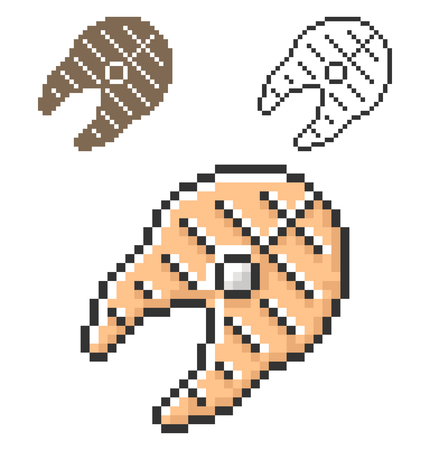 Pixel icon of grilled fish piece in three variants. Fully editable