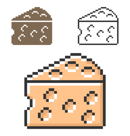 Pixel icon of cheese piece in three variants. Fully editable