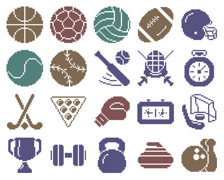 Collection of monochromatic pixel icons: Sport Illustration
