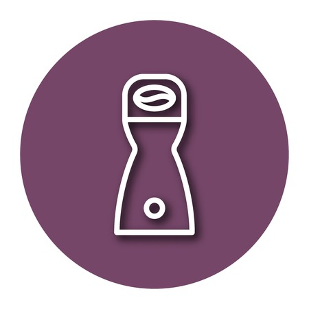 Line icon of coffee grinder with shadow. EPS 10