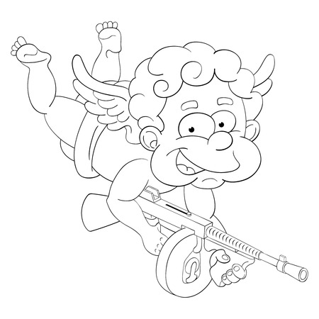 Funny little cupid with magic submachine gun to make mass falling in love effect