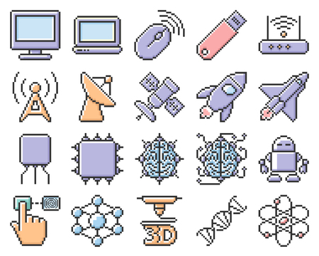 Collection of outlined pixel icons: High technology
