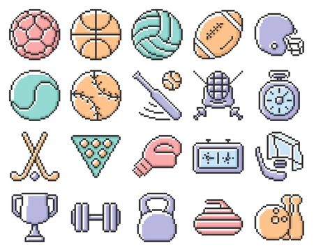 Collection of outlined pixel icons: Sport