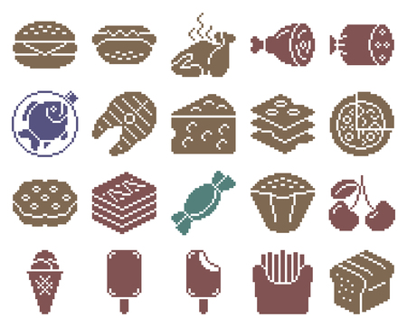 Collection of monochromatic pixel icons: Food