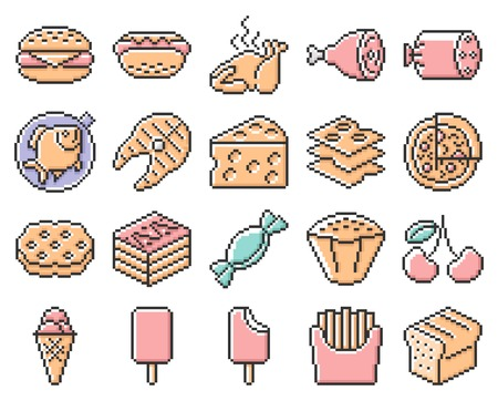 Collection of outlined pixel icons: Food