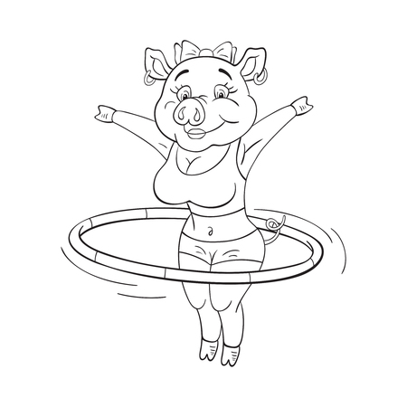 Black and white illustration of  cute female pig in a fitness sportswear who makes exercise with  hoop.  Funny cartoon character