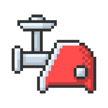 Outlined pixel icon of electric meat chopper. Fully editable 일러스트