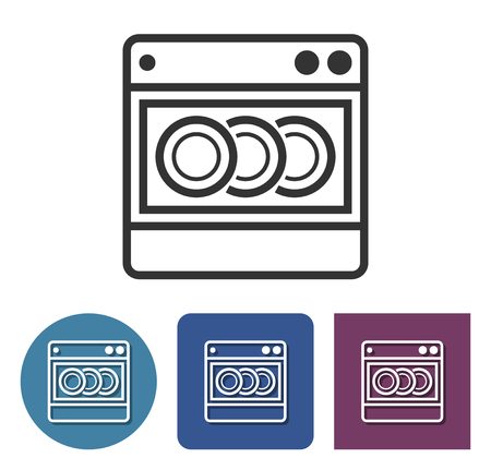 Dishwashing machine line icon in different variants