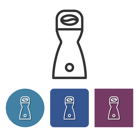 Coffee grinder line icon in different variants Illustration
