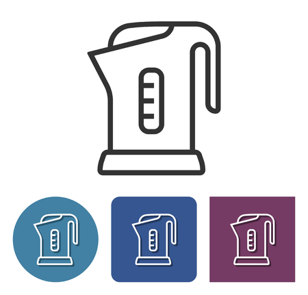 Electric kettle line icon in different variants