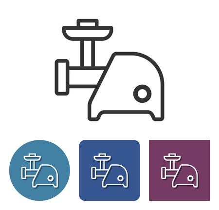 Electric meat chopper line icon in different variants