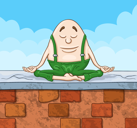 Cartoon Humpty Dumpty egg sitting with closed eyes on a top of a high brick wall in deep meditation state Ilustração