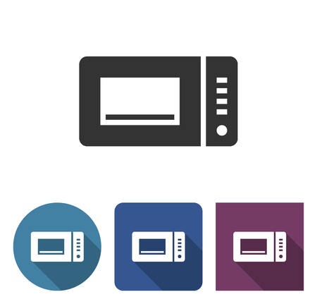 Microwave icon in different variants with long shadow