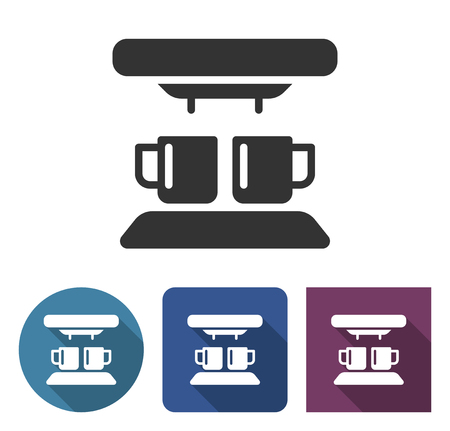 Coffee machine icon in different variants with long shadow Ilustração
