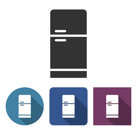 Refrigerator icon in different variants with long shadow Çizim