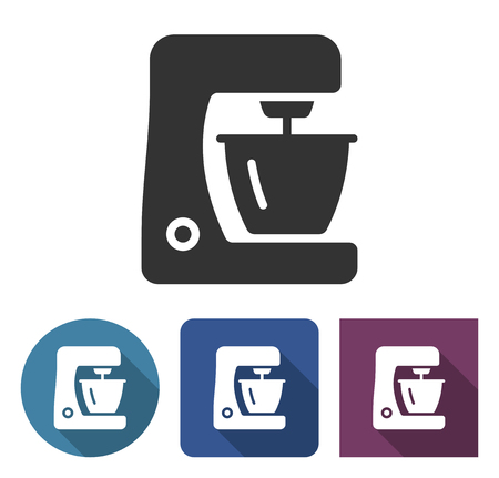 Food processor icon in different variants with long shadow Иллюстрация
