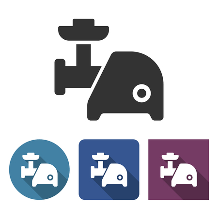 Electric meat chopper icon in different variants with long shadow Illustration