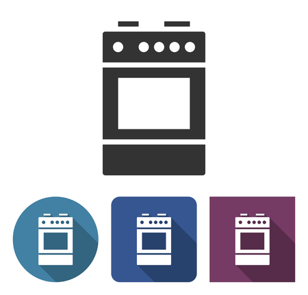 Cooker icon in different variants with long shadow