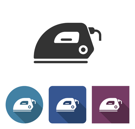 Electric iron icon in different variants with long shadow Çizim