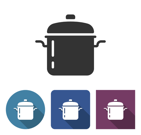 Stew pan icon in different variants with long shadow