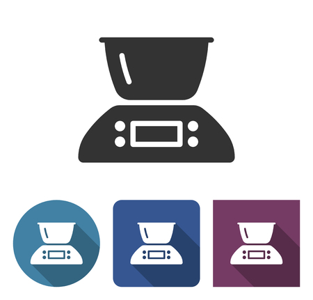 Kitchen scales icon in different variants with long shadow