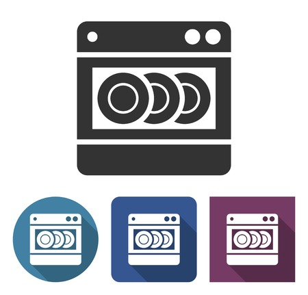 Dishwashing machine icon in different variants with long shadow Çizim