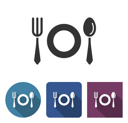 Tableware icon in different variants with long shadow Иллюстрация