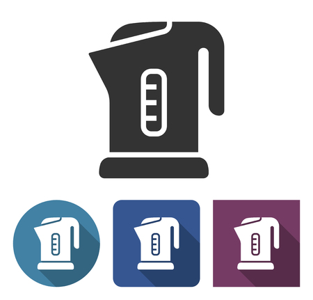 Electric kettle icon in different variants with long shadow