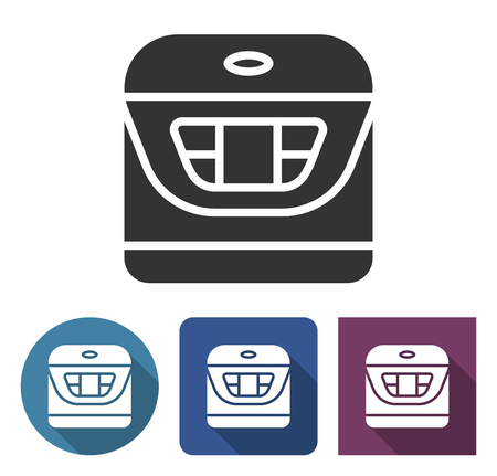 Multicooker icon in different variants with long shadow Illustration