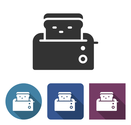 Toaster icon in different variants with long shadow Banco de Imagens - 124996802