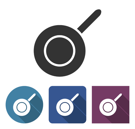 Frypan icon in different variants with long shadow