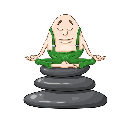 Cartoon Humpty Dumpty egg sitting with closed eyes on a top of zen stones stack in deep meditation state. On white background Vetores