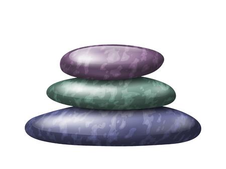 Zen Spa stones stack illustration on white background. EPS 10