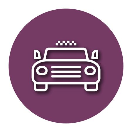 Line icon of taxi with shadow. EPS 10