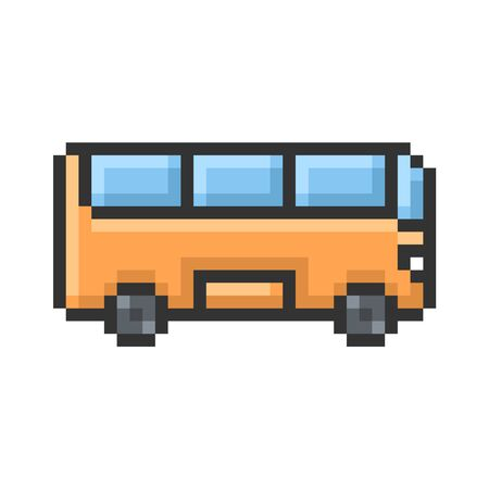 Outlined pixel icon of bus. Fully editable Ilustração