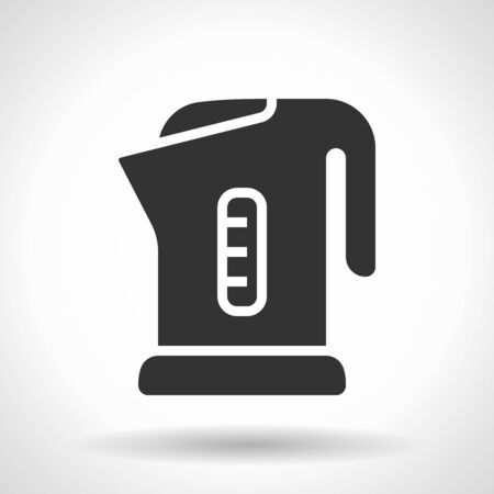 Monochromatic electric kettle icon with hovering effect shadow on grey gradient background. Illustration