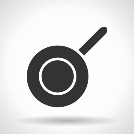 Monochromatic frypan icon with hovering effect shadow on grey gradient background.