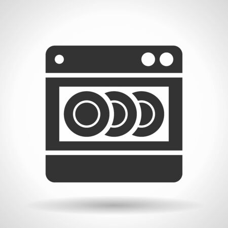 Monochromatic dishwashing machine  icon with hovering effect shadow on grey gradient background. Ilustração