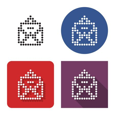 Dotted icon of open envelope and letter in four variants. With short and long shadow