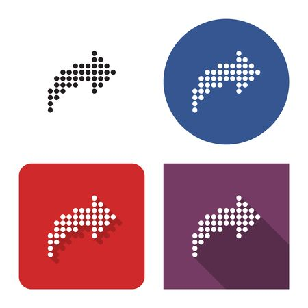 Dotted icon of  right curved arrow in four variants. With short and long shadow