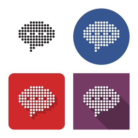 Dotted icon of  elliptical speech bubble in four variants. With short and long shadow