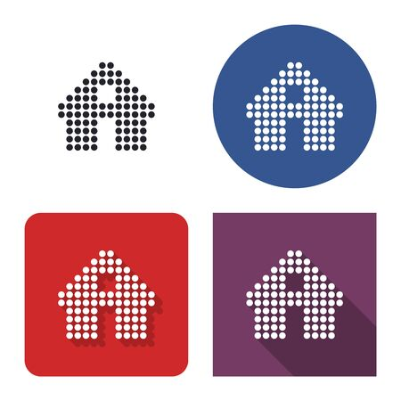Dotted icon of home in four variants. With short and long shadow Ilustração