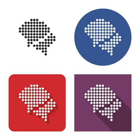 Dotted icon of  two blank speech bubbles (dialogue icon) in four variants. With short and long shadow