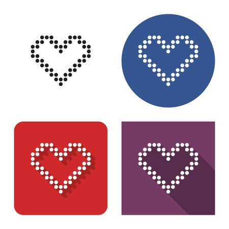 Dotted icon of heart in four variants. With short and long shadow