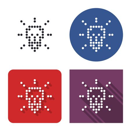 Dotted icon of lamp radiating light  in four variants. With short and long shadow