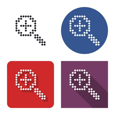 Dotted icon of  increase magnifying glass  in four variants. With short and long shadow