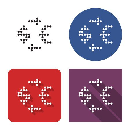 Dotted icon of currency exchange in four variants. Dollar  and euro symbols. With short and long shadow