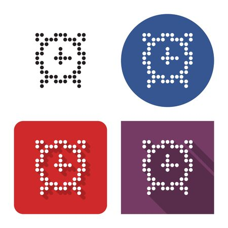 Dotted icon of alarm clock in four variants. With short and long shadow