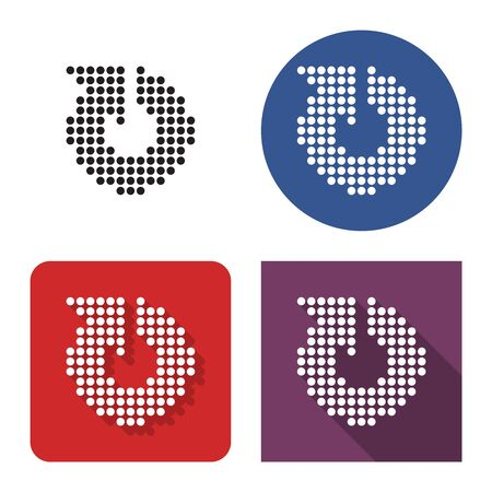 Dotted icon of recycling arrow  in four variants. With short and long shadow